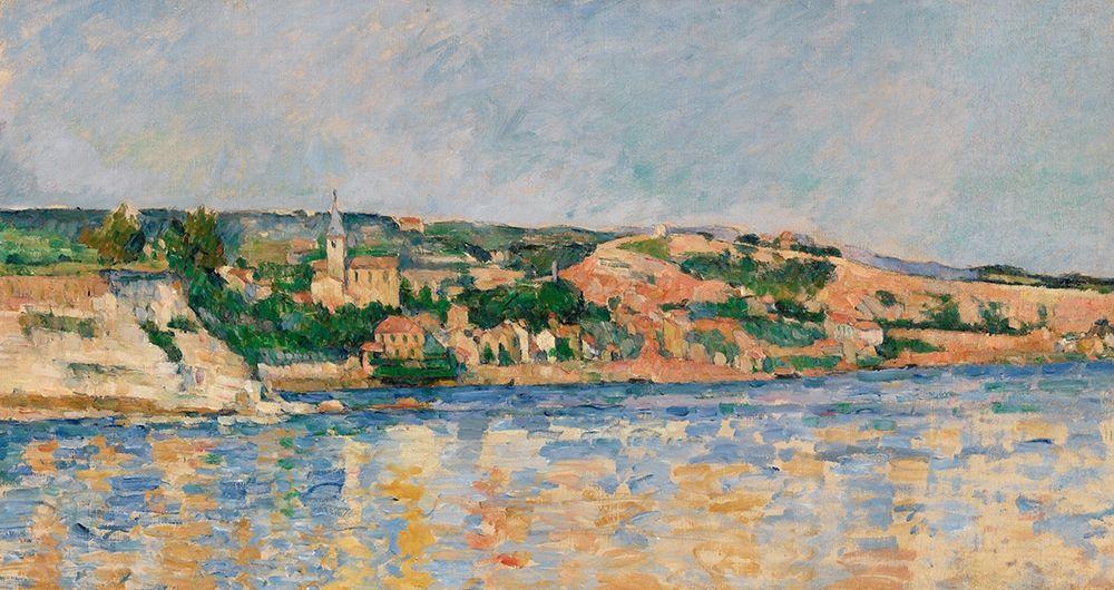 konfigurieren des Kunstdrucks in Wunschgröße Village at the Waters Edge von Cezanne, Paul
