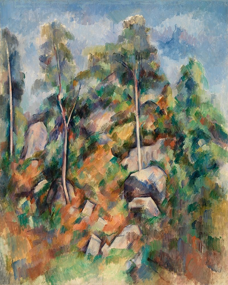 konfigurieren des Kunstdrucks in Wunschgröße Rocks and Trees von Cezanne, Paul