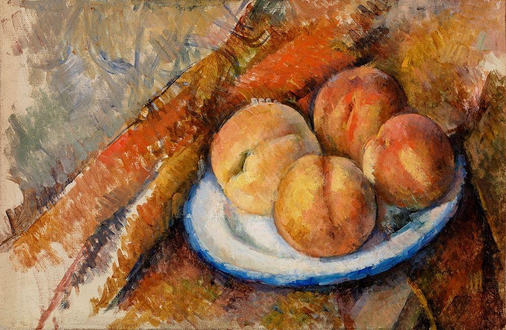 konfigurieren des Kunstdrucks in Wunschgröße Four Peaches on a Plate von Cezanne, Paul