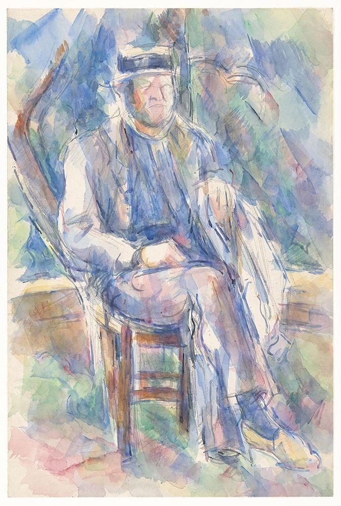 konfigurieren des Kunstdrucks in Wunschgröße Man Wearing a Straw Hat von Cezanne, Paul