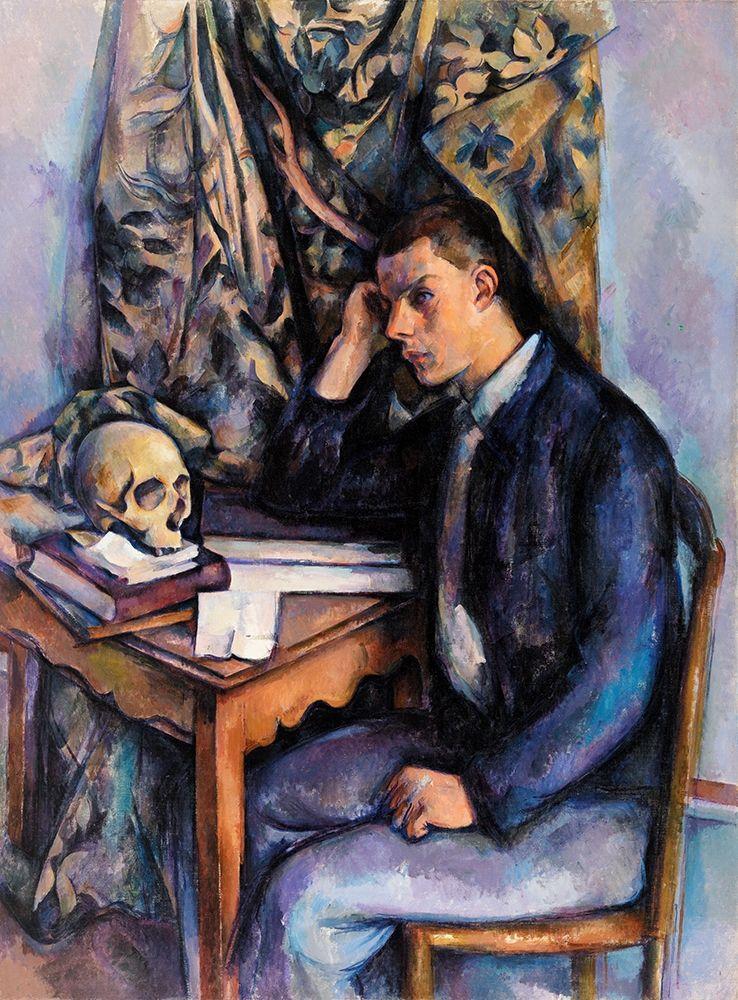 konfigurieren des Kunstdrucks in Wunschgröße Young Man and Skull┬á von Cezanne, Paul