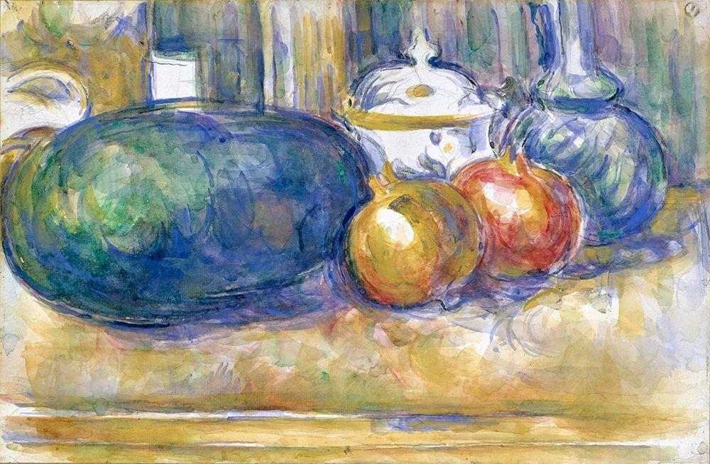 konfigurieren des Kunstdrucks in Wunschgröße Still-Life with a Watermelon and Pomegranates von Cezanne, Paul
