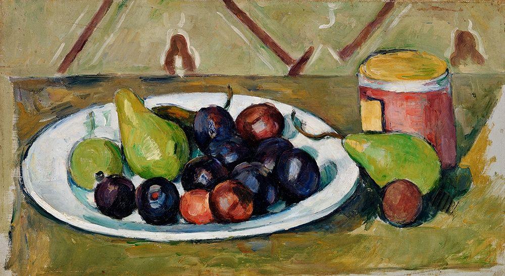 konfigurieren des Kunstdrucks in Wunschgröße Plate with Fruit and Pot of Preserves von Cezanne, Paul