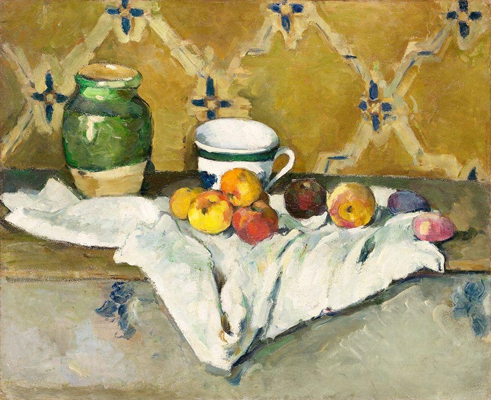 konfigurieren des Kunstdrucks in Wunschgröße Still Life with Jar, Cup, and Apples┬á von Cezanne, Paul