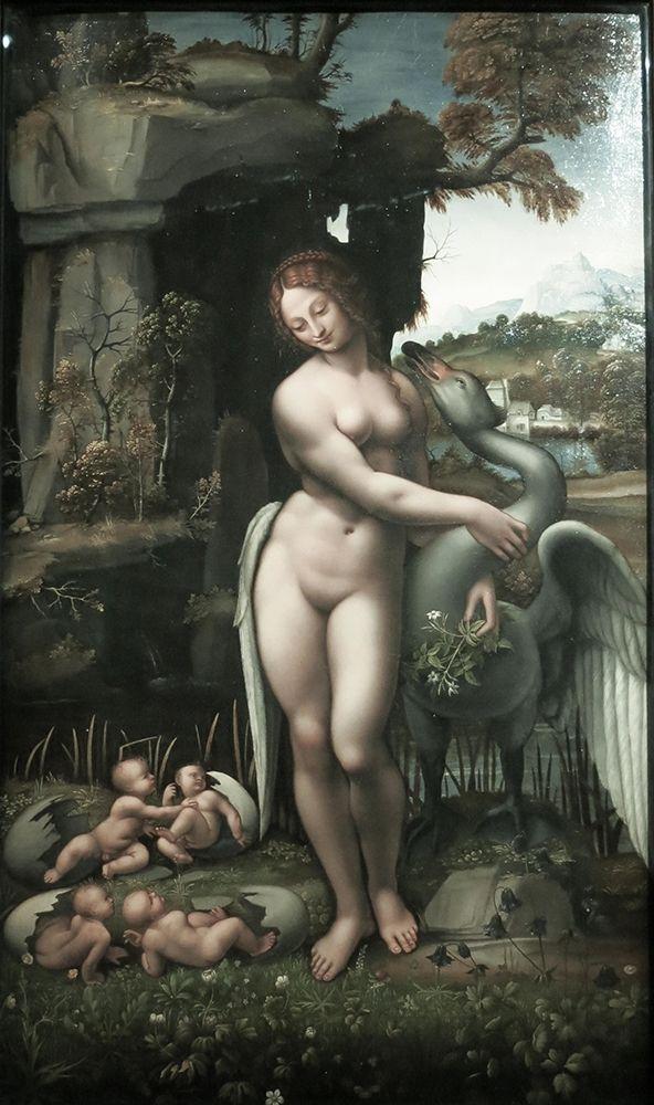 konfigurieren des Kunstdrucks in Wunschgröße Ledo and the Swan von Da Vinci, Leonardo