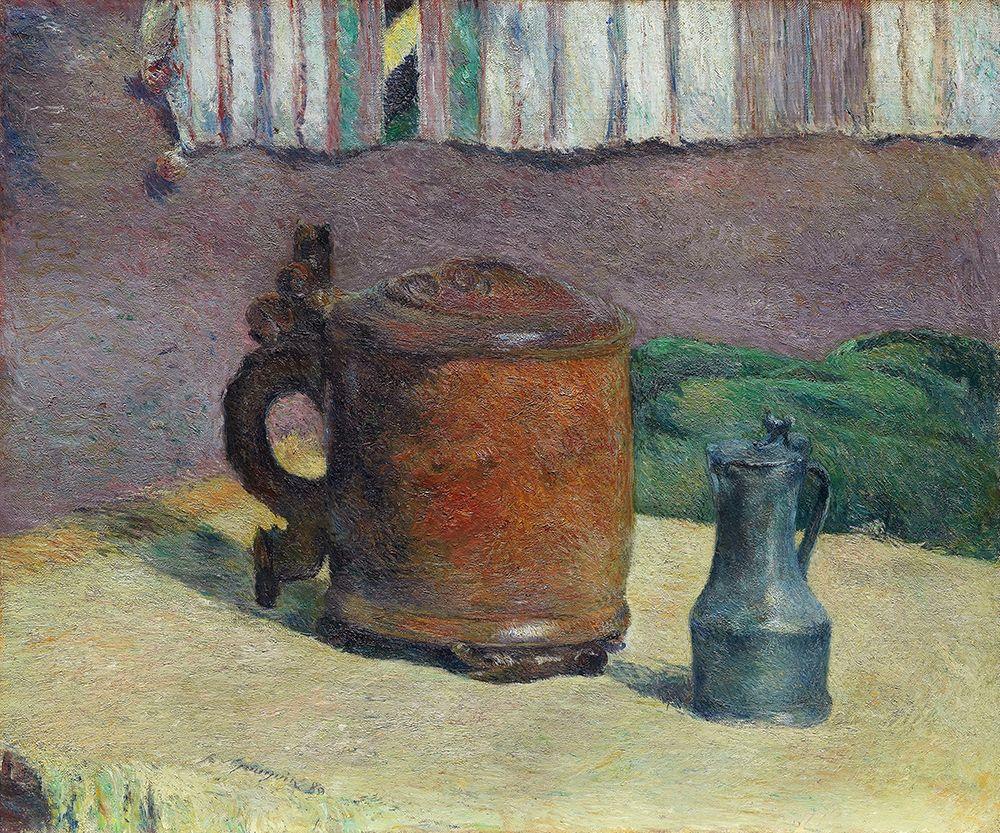 konfigurieren des Kunstdrucks in Wunschgröße Still Life: Wood Tankard and Metal Pitcher von Gauguin, Paul