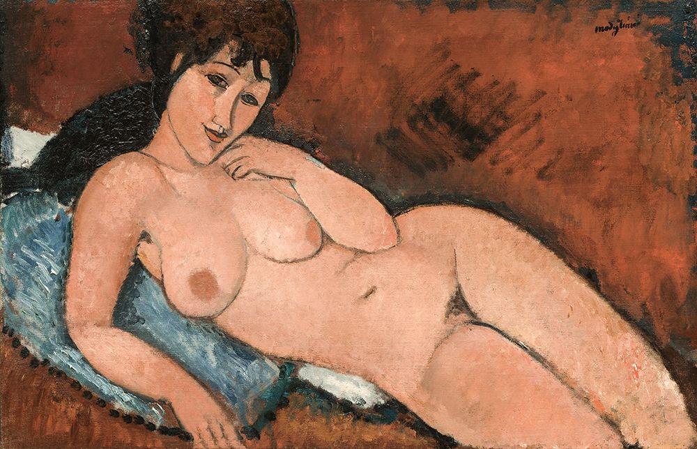 konfigurieren des Kunstdrucks in Wunschgröße Nude on a Blue Cushion von Modigliani, Amedeo