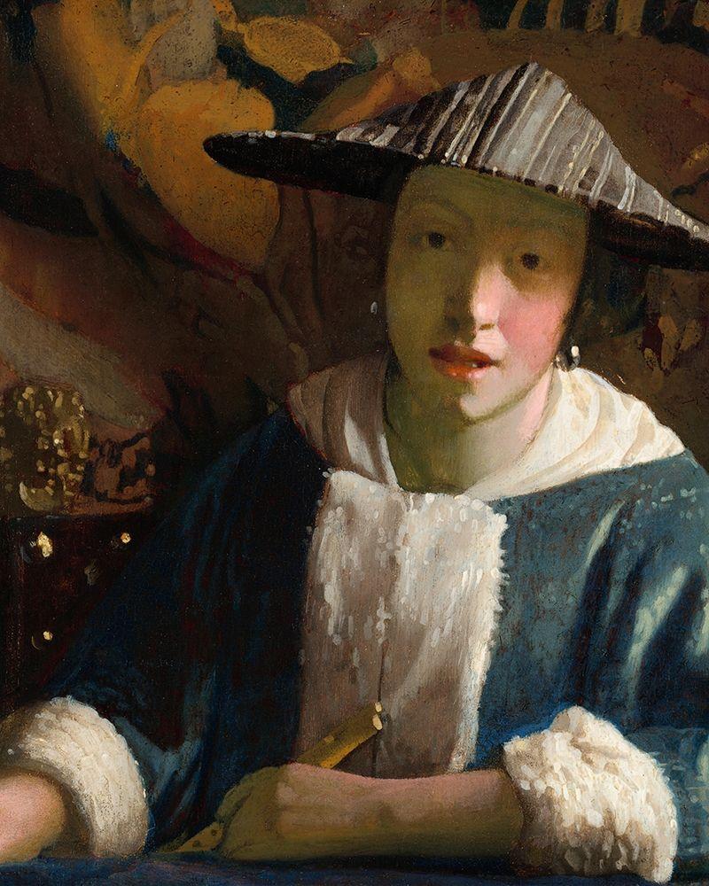 konfigurieren des Kunstdrucks in Wunschgröße Girl with a Flute von Vermeer, Johannes