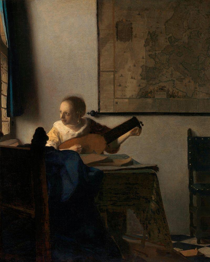 konfigurieren des Kunstdrucks in Wunschgröße Young Woman with a Lute von Vermeer, Johannes