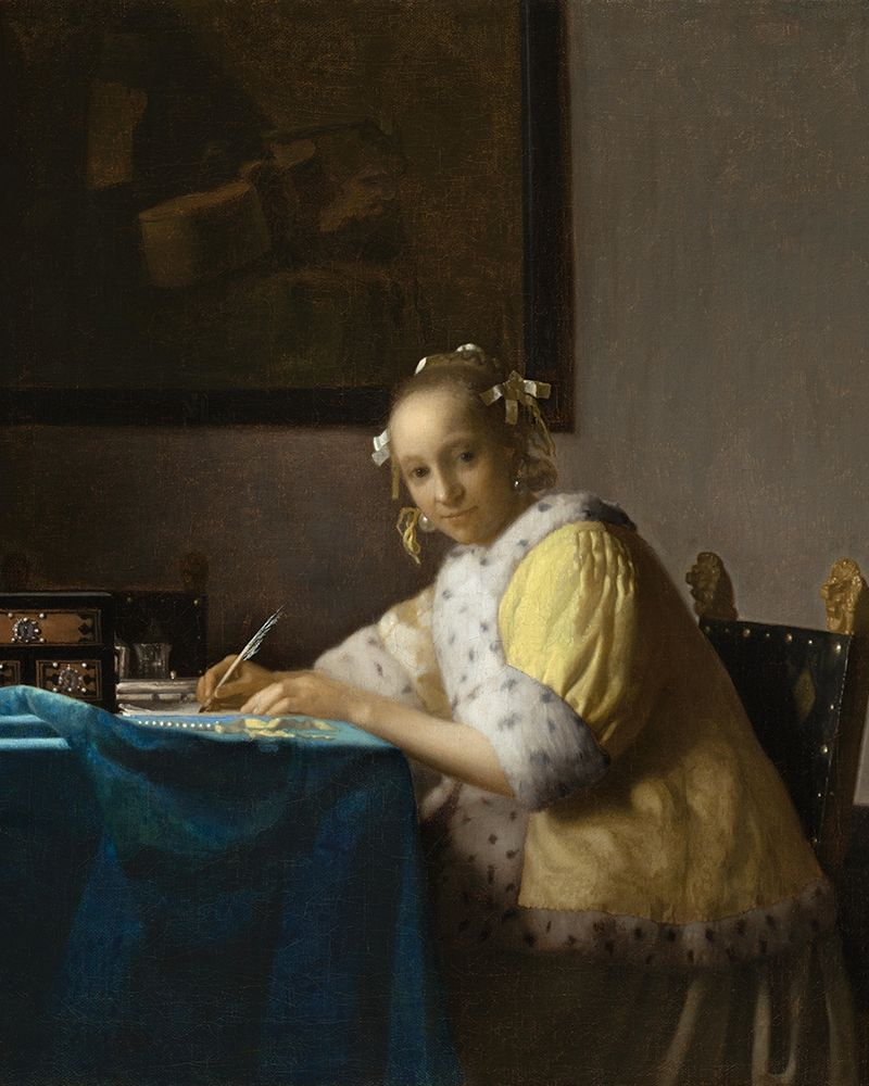 konfigurieren des Kunstdrucks in Wunschgröße A Lady Writing a Letter von Vermeer, Johannes