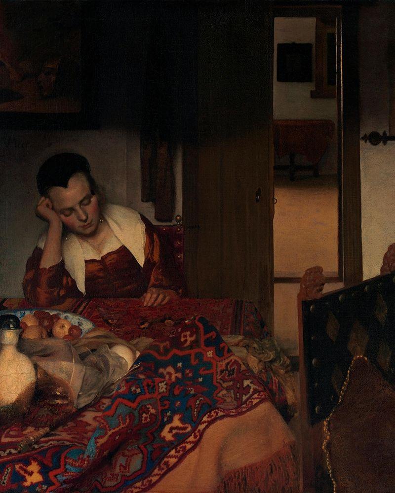 konfigurieren des Kunstdrucks in Wunschgröße A Maid Asleep von Vermeer, Johannes