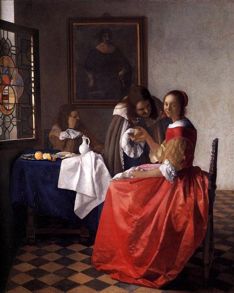 konfigurieren des Kunstdrucks in Wunschgröße A Lady and Two Gentlemen von Vermeer, Johannes