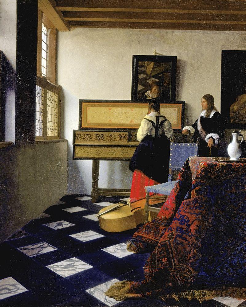 konfigurieren des Kunstdrucks in Wunschgröße The Music Lesson von Vermeer, Johannes