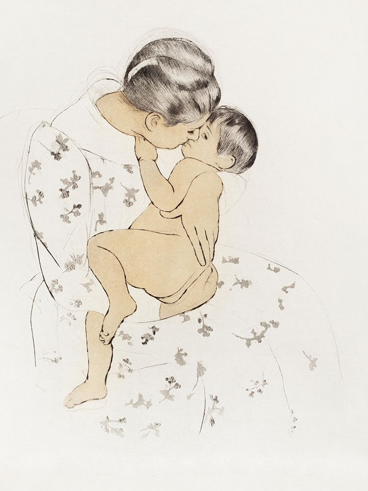 konfigurieren des Kunstdrucks in Wunschgröße Mothers Kiss von Cassatt, Mary