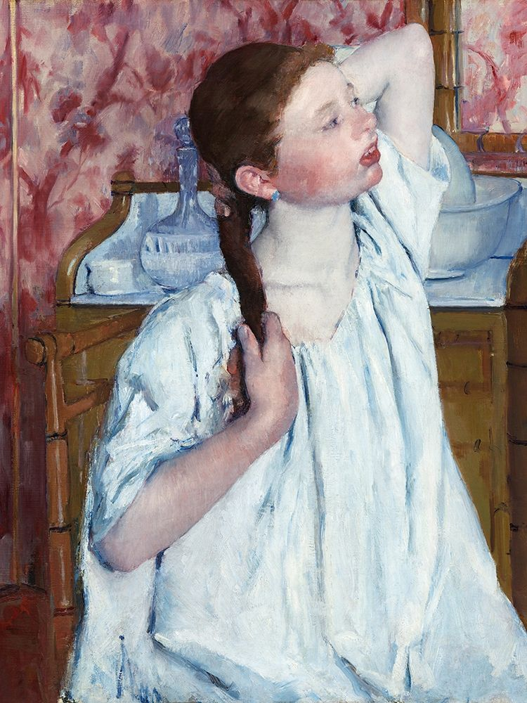 konfigurieren des Kunstdrucks in Wunschgröße Girl Arranging Her Hair von Cassatt, Mary