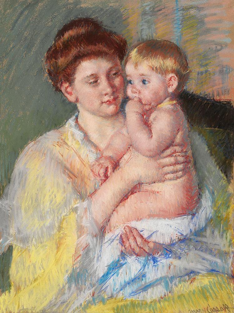 konfigurieren des Kunstdrucks in Wunschgröße Baby John with Forefinger in His Mouth von Cassatt, Mary