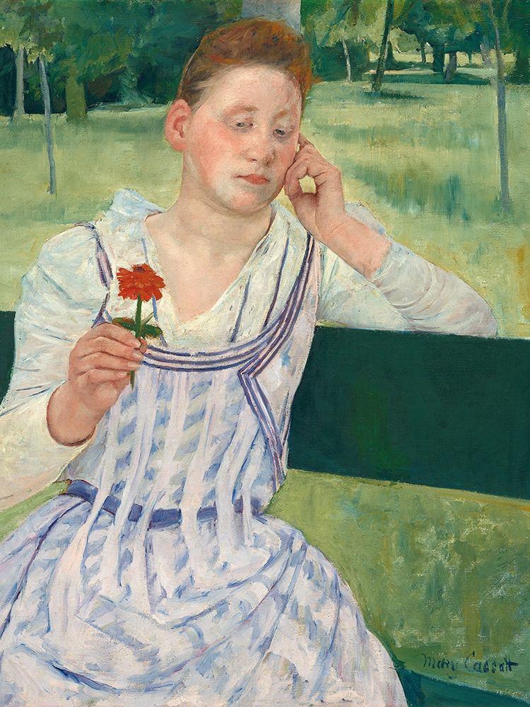 konfigurieren des Kunstdrucks in Wunschgröße Woman with a Red Zinnia von Cassatt, Mary