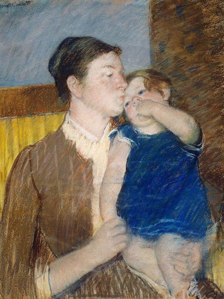konfigurieren des Kunstdrucks in Wunschgröße Mothers Goodnight Kiss von Cassatt, Mary