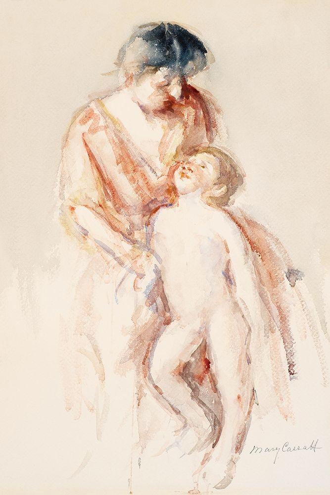 konfigurieren des Kunstdrucks in Wunschgröße Woman with Nude Boy at Her Left von Cassatt, Mary
