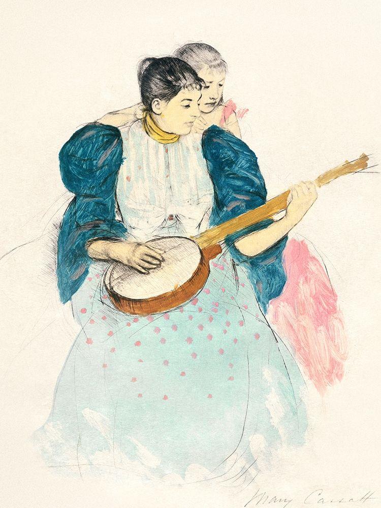 konfigurieren des Kunstdrucks in Wunschgröße The Banjo Lesson von Cassatt, Mary