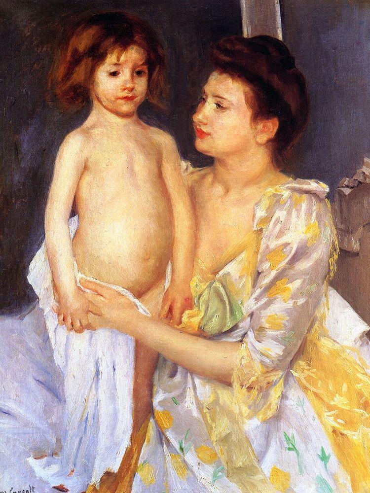 konfigurieren des Kunstdrucks in Wunschgröße Jules Being Dried by His Mother von Cassatt, Mary