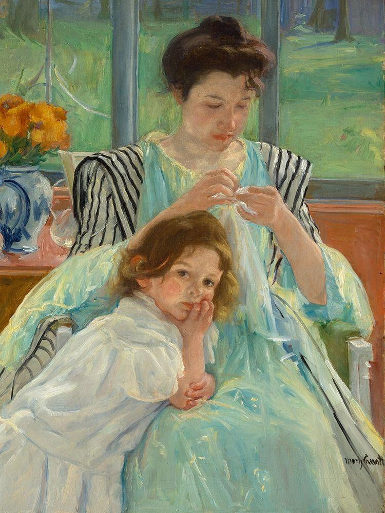 konfigurieren des Kunstdrucks in Wunschgröße Young Mother Sewing von Cassatt, Mary