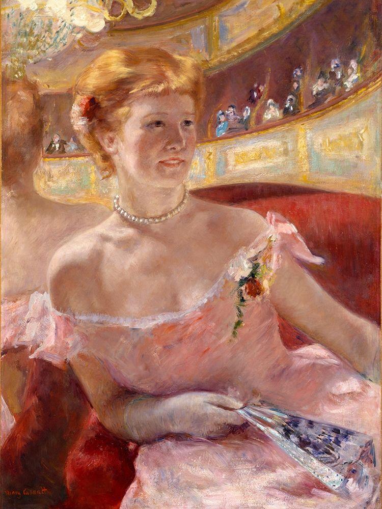konfigurieren des Kunstdrucks in Wunschgröße Woman with a Pearl Necklace in a Loge von Cassatt, Mary