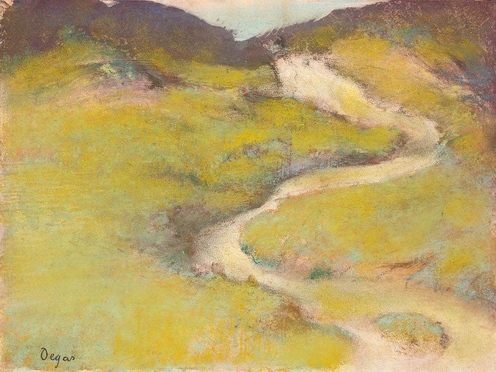 konfigurieren des Kunstdrucks in Wunschgröße Pathway in a Field von Degas, Edgar