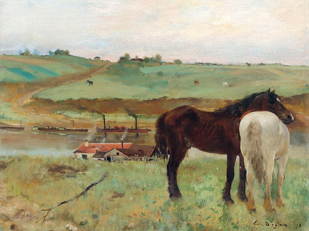 konfigurieren des Kunstdrucks in Wunschgröße Horse in a Meadow von Degas, Edgar