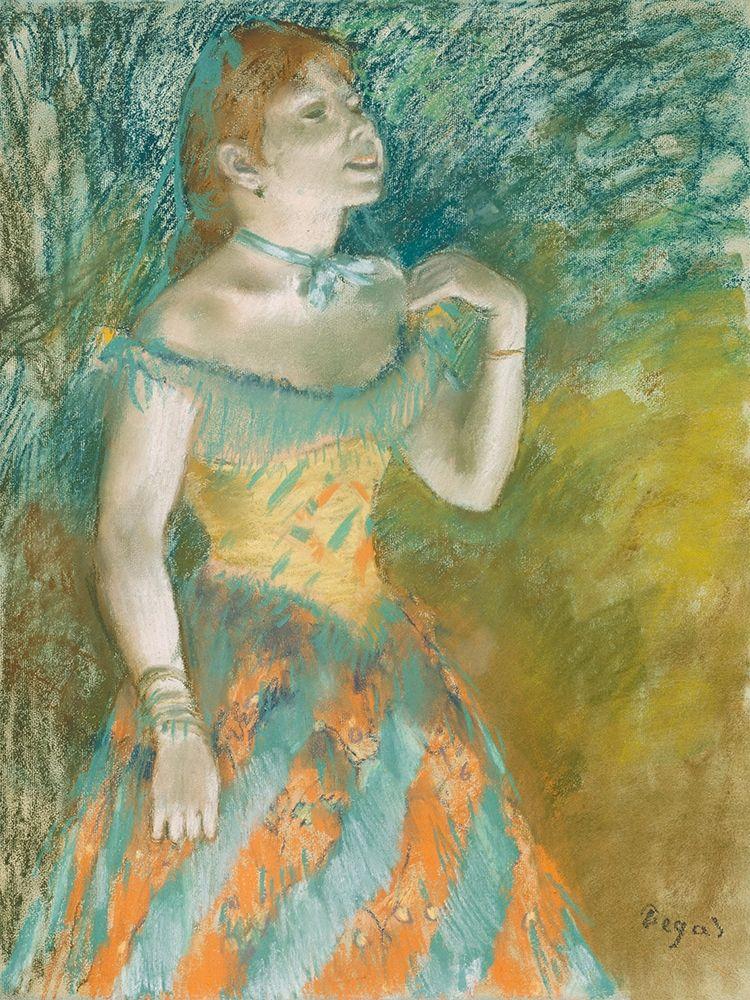 konfigurieren des Kunstdrucks in Wunschgröße The Singer in Green von Degas, Edgar