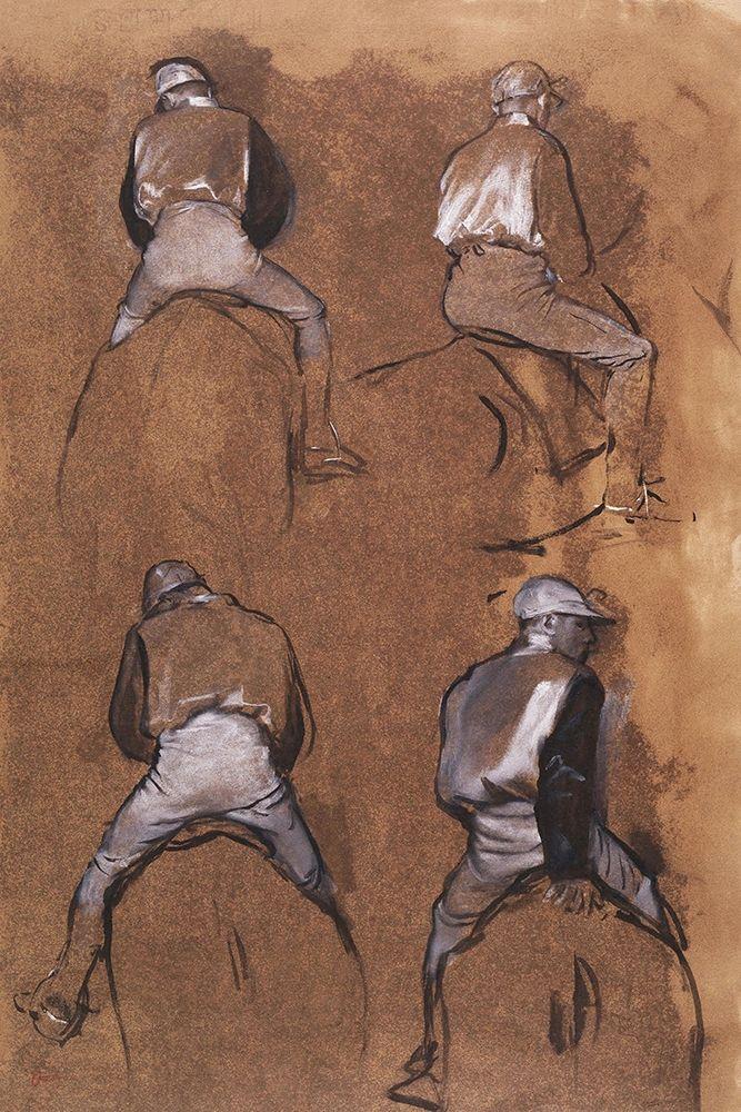 konfigurieren des Kunstdrucks in Wunschgröße Four Studies of a Jockey von Degas, Edgar