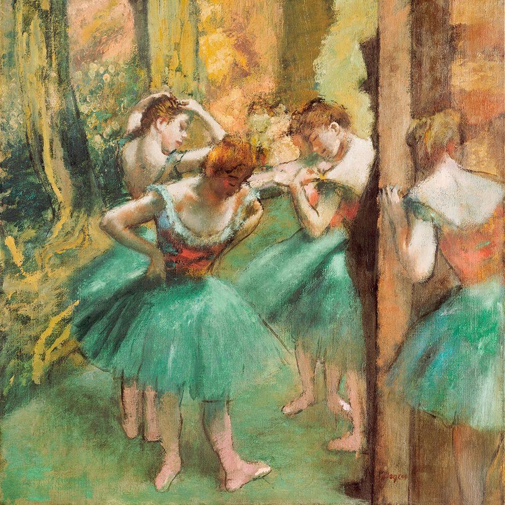 konfigurieren des Kunstdrucks in Wunschgröße Dancers, Pink and Green von Degas, Edgar