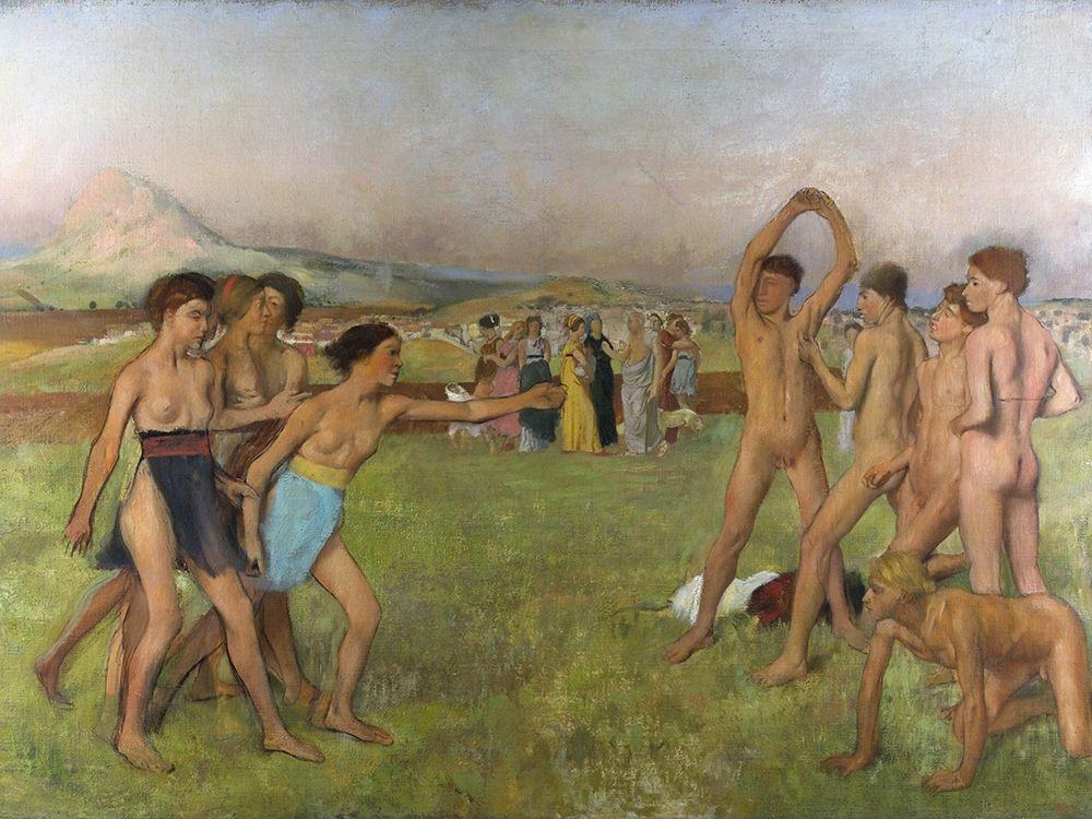 konfigurieren des Kunstdrucks in Wunschgröße Young Spartans exercising von Degas, Edgar