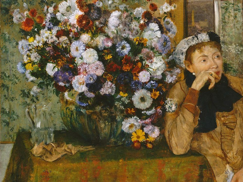 konfigurieren des Kunstdrucks in Wunschgröße A Woman Seated beside a Vase of Flowers von Degas, Edgar