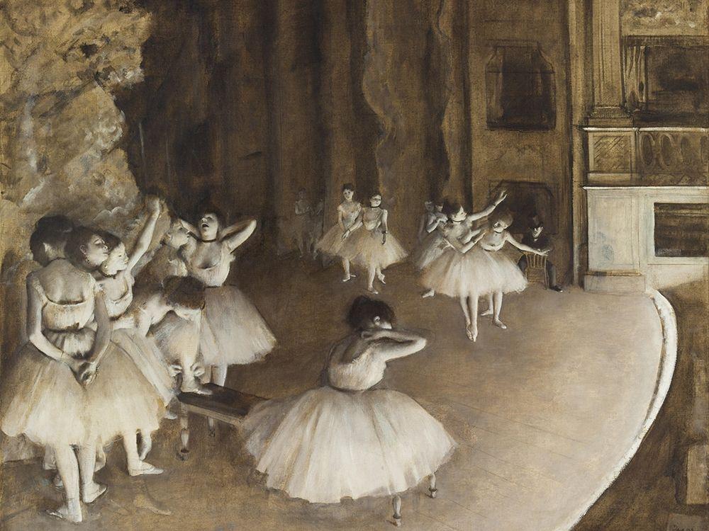 konfigurieren des Kunstdrucks in Wunschgröße Ballet Rehearsal on Stage von Degas, Edgar