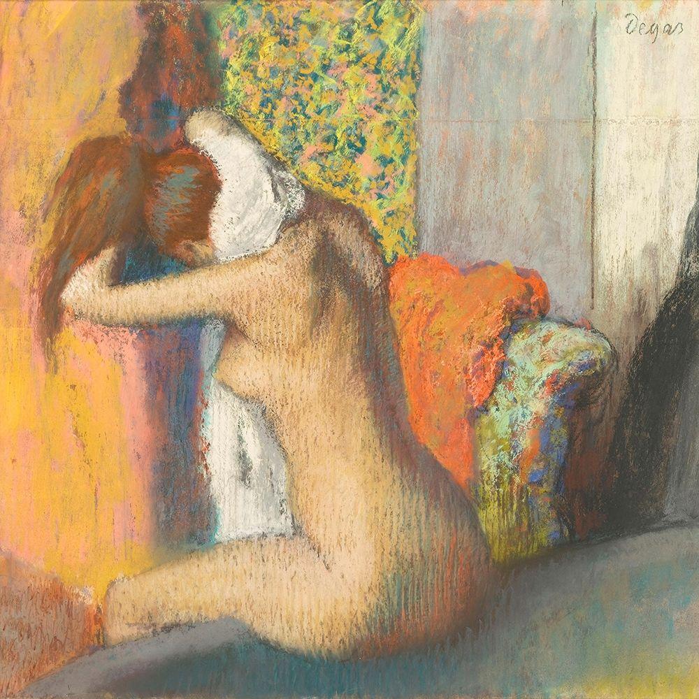konfigurieren des Kunstdrucks in Wunschgröße After the Bath, Woman Drying her Nape von Degas, Edgar