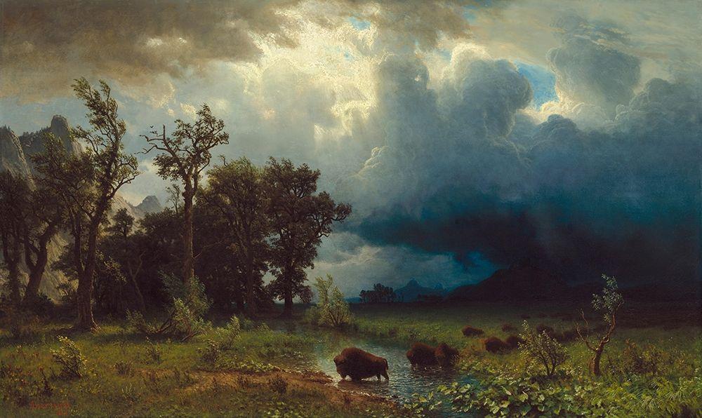 konfigurieren des Kunstdrucks in Wunschgröße Buffalo Trail: The Impending Storm von Bierstadt, Albert