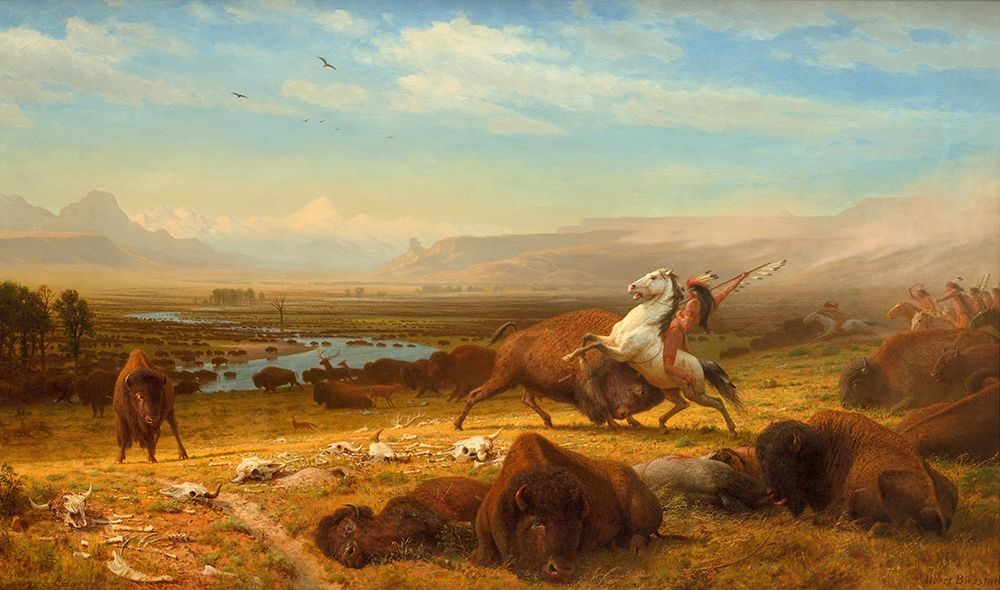 konfigurieren des Kunstdrucks in Wunschgröße The Last of the Buffalo von Bierstadt, Albert