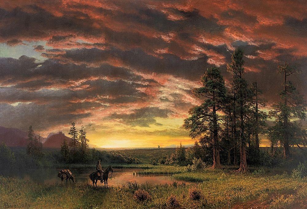 konfigurieren des Kunstdrucks in Wunschgröße Evening on the Prairie von Bierstadt, Albert