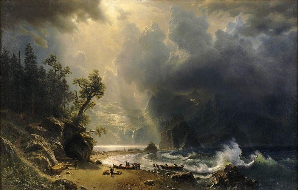konfigurieren des Kunstdrucks in Wunschgröße Puget Sound on the Pacific Coast von Bierstadt, Albert
