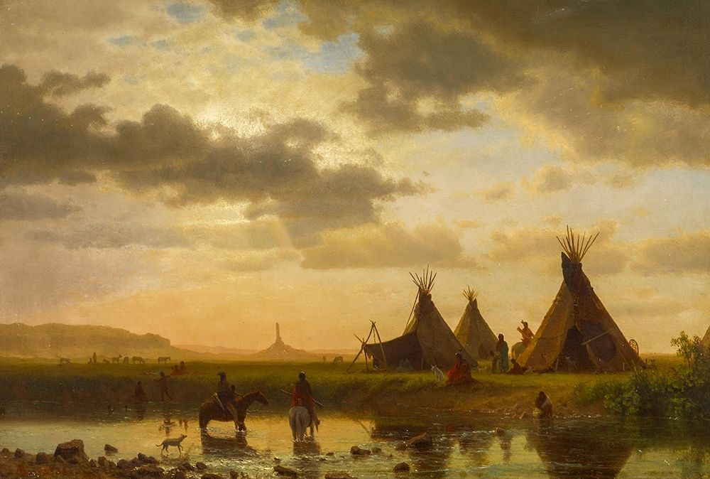 konfigurieren des Kunstdrucks in Wunschgröße View of Chimney Rock, Ohalilah Sioux Village in the foreground von Bierstadt, Albert
