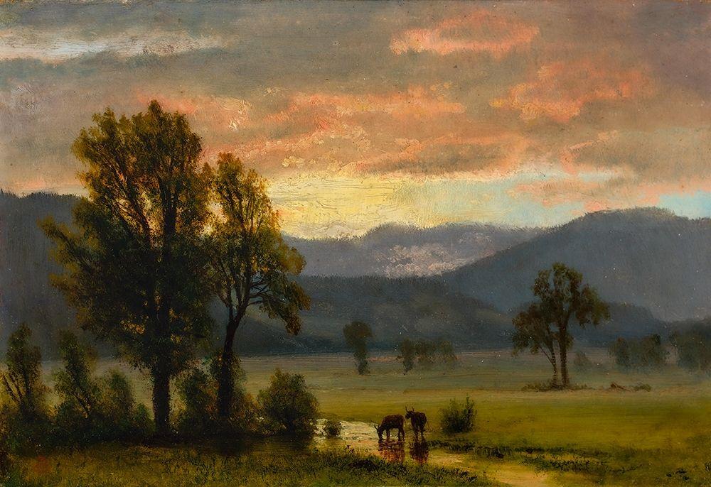 konfigurieren des Kunstdrucks in Wunschgröße Landscape with cattle von Bierstadt, Albert