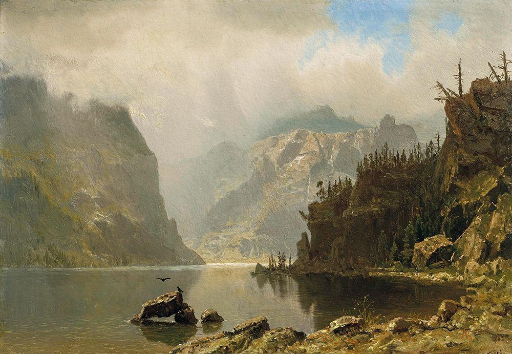 konfigurieren des Kunstdrucks in Wunschgröße Western Landscape von Bierstadt, Albert