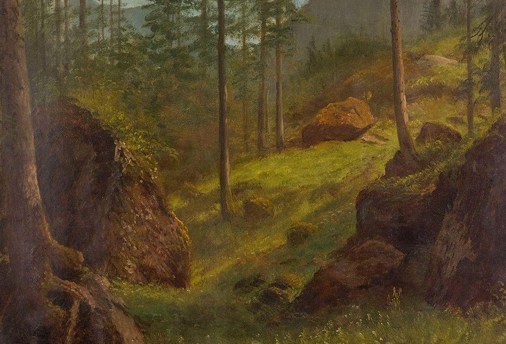 konfigurieren des Kunstdrucks in Wunschgröße Wooded hillside von Bierstadt, Albert