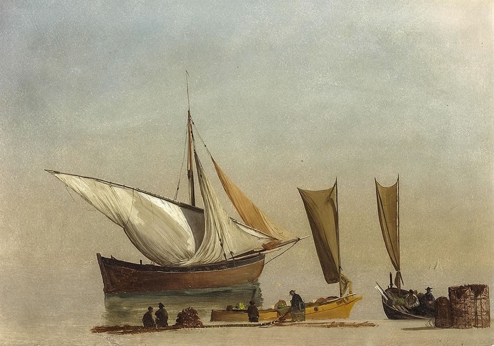 konfigurieren des Kunstdrucks in Wunschgröße Fishing Boats von Bierstadt, Albert