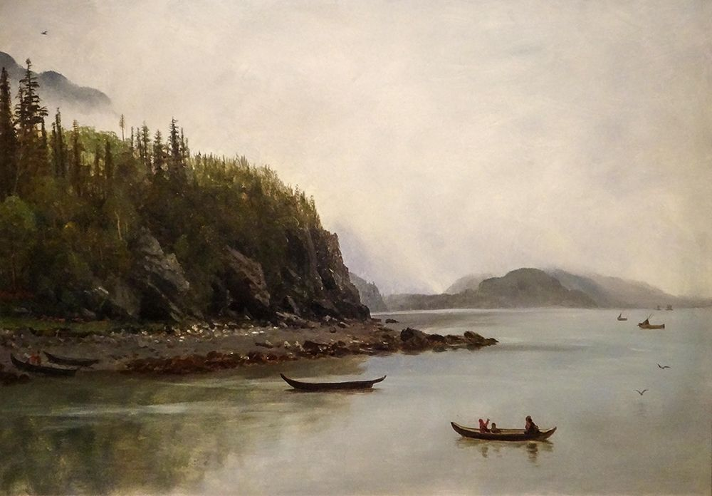 konfigurieren des Kunstdrucks in Wunschgröße Indians Fishing von Bierstadt, Albert