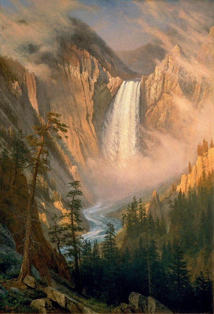 konfigurieren des Kunstdrucks in Wunschgröße Yellowstone Falls von Bierstadt, Albert