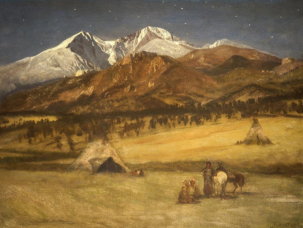 konfigurieren des Kunstdrucks in Wunschgröße Indian Encampment - Evening von Bierstadt, Albert