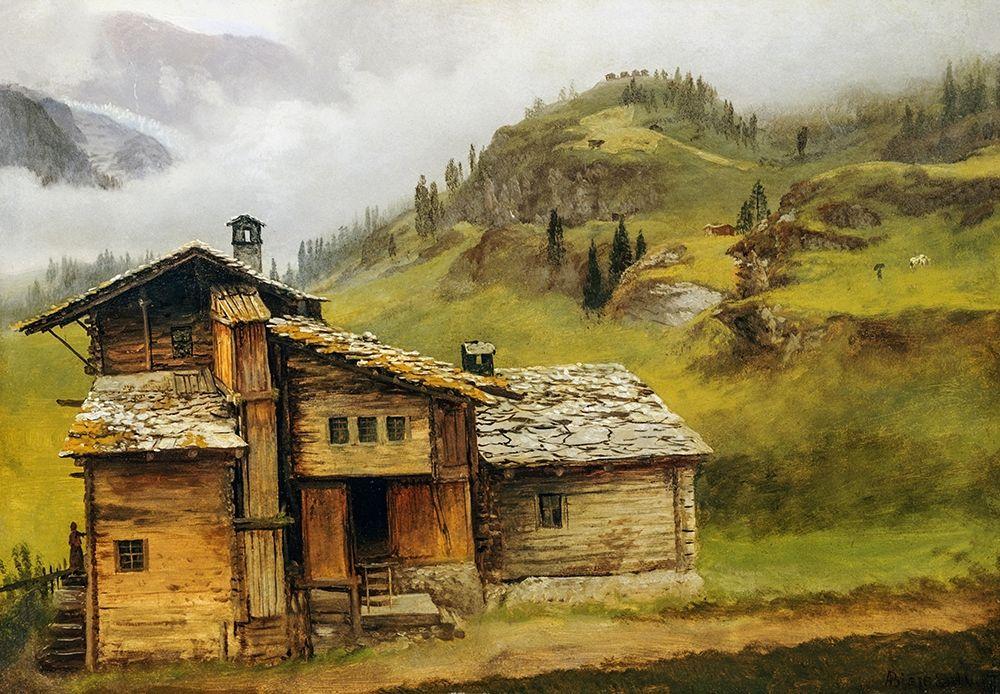 konfigurieren des Kunstdrucks in Wunschgröße Mountain House von Bierstadt, Albert