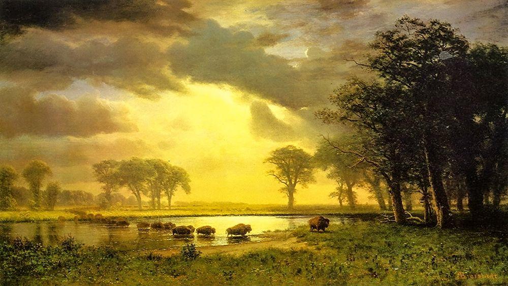 konfigurieren des Kunstdrucks in Wunschgröße The Buffalo Trail von Bierstadt, Albert